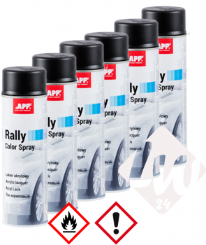 6x APP Rally Lackspray, Schwarz Matt, je 600ml (XL)